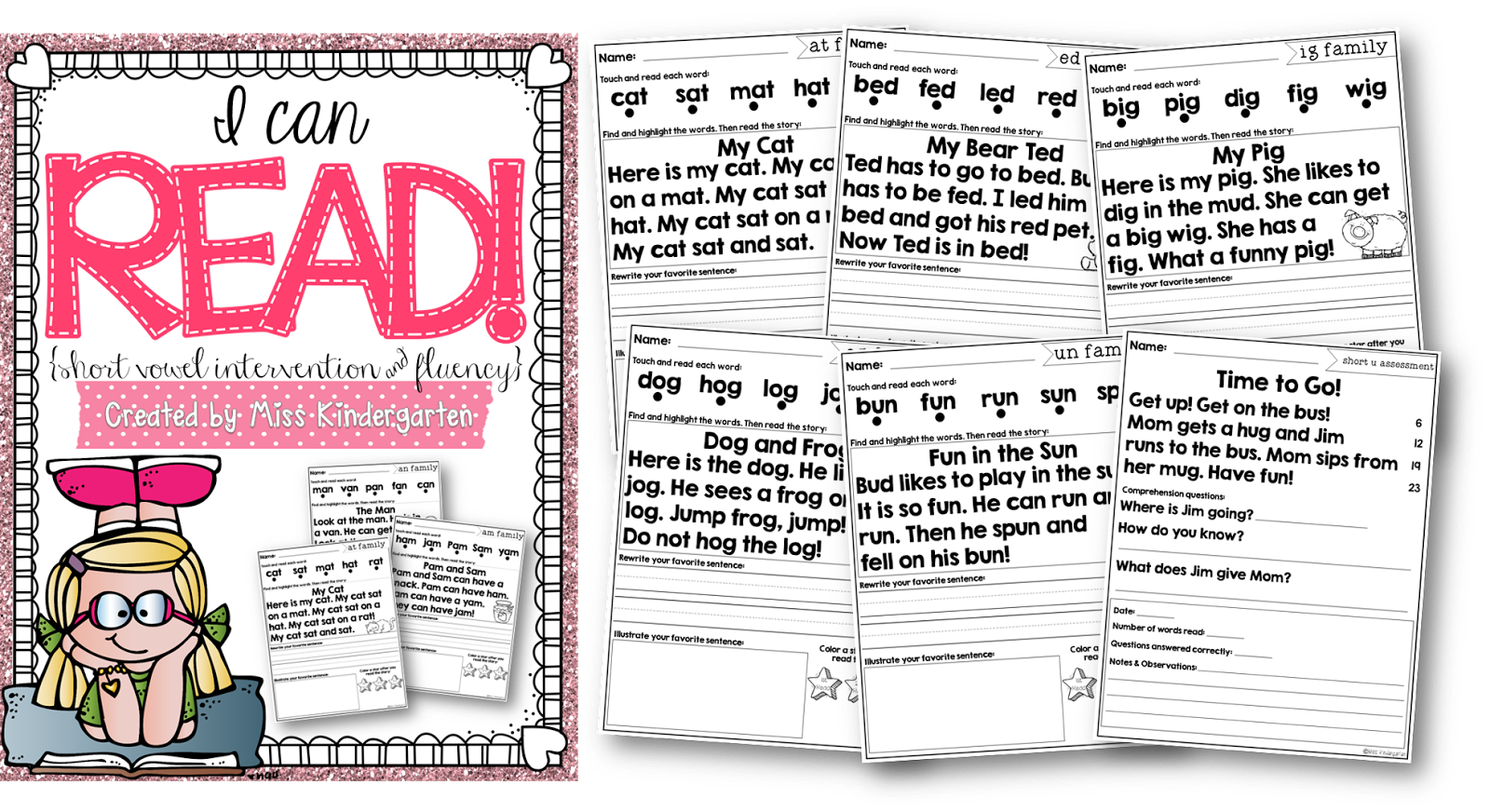 Worksheet Short Reading Passages i can read short vowel intervention miss kindergarten httpswww teacherspayteachers comproducti can