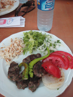 A delicious Turkish meal of Kofte Kebabs.