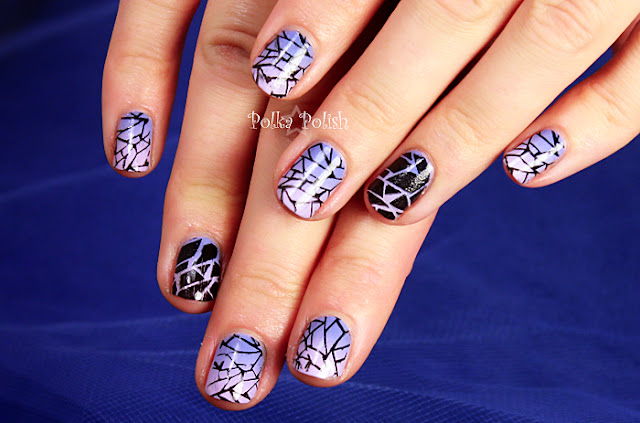 Purple periwinkle and lavendar gradient nails with black shattered stamping