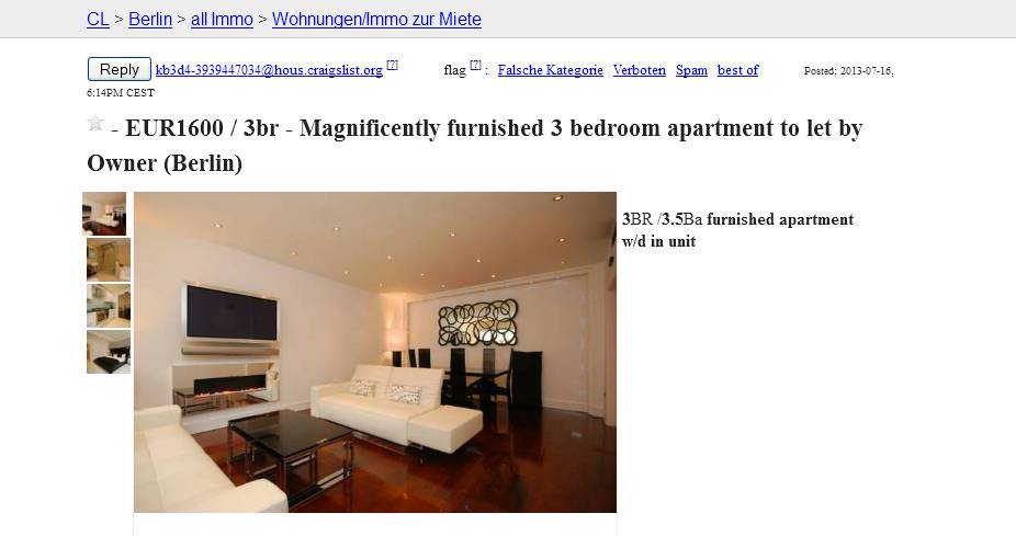 Craigslist  Room For Rent Scam