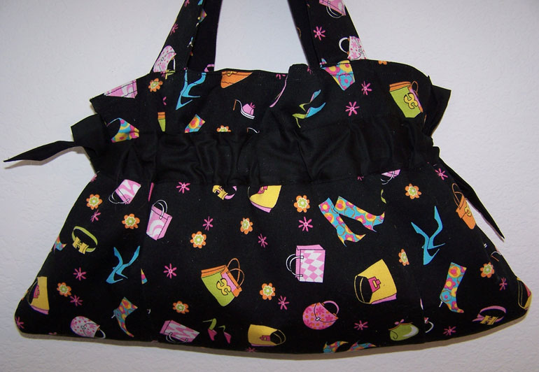 Handmade Drawstring Purse Shoes Shopping Hot Pink Black
