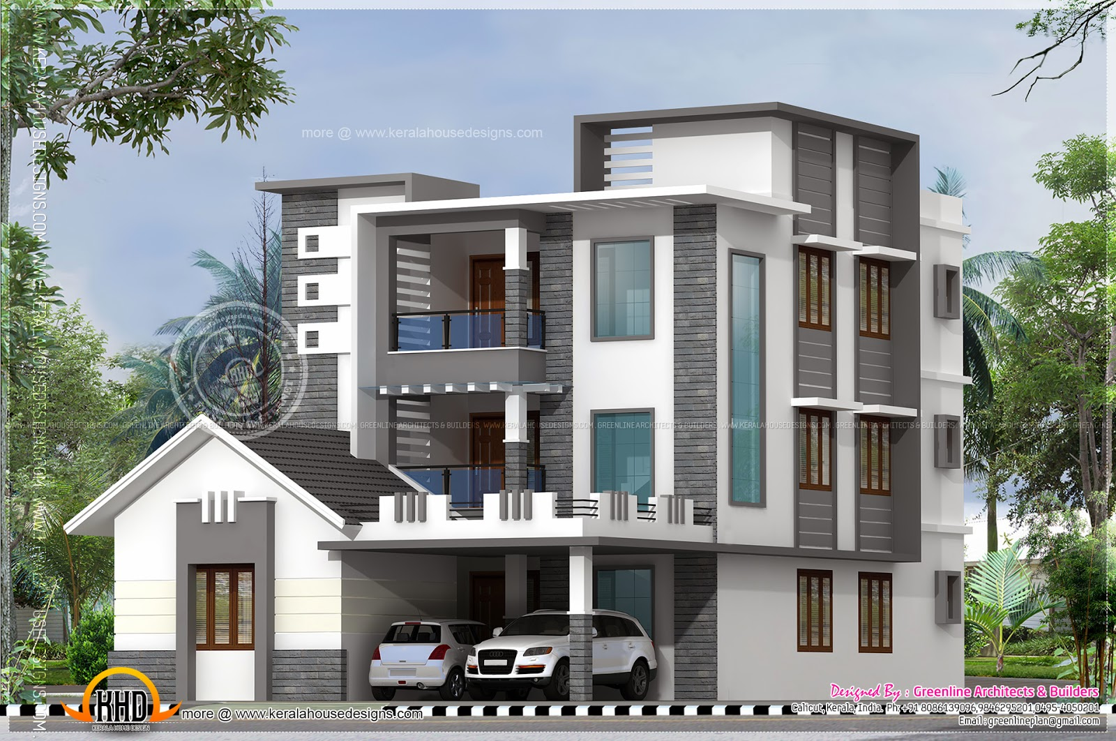 Three storied modern luxury house kerala home design and for Modern tower house designs