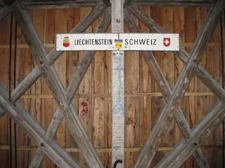 Lietchtenstein/Swiss border inside the Alte Rheinbrücke, Vaduz, Liechetenstein