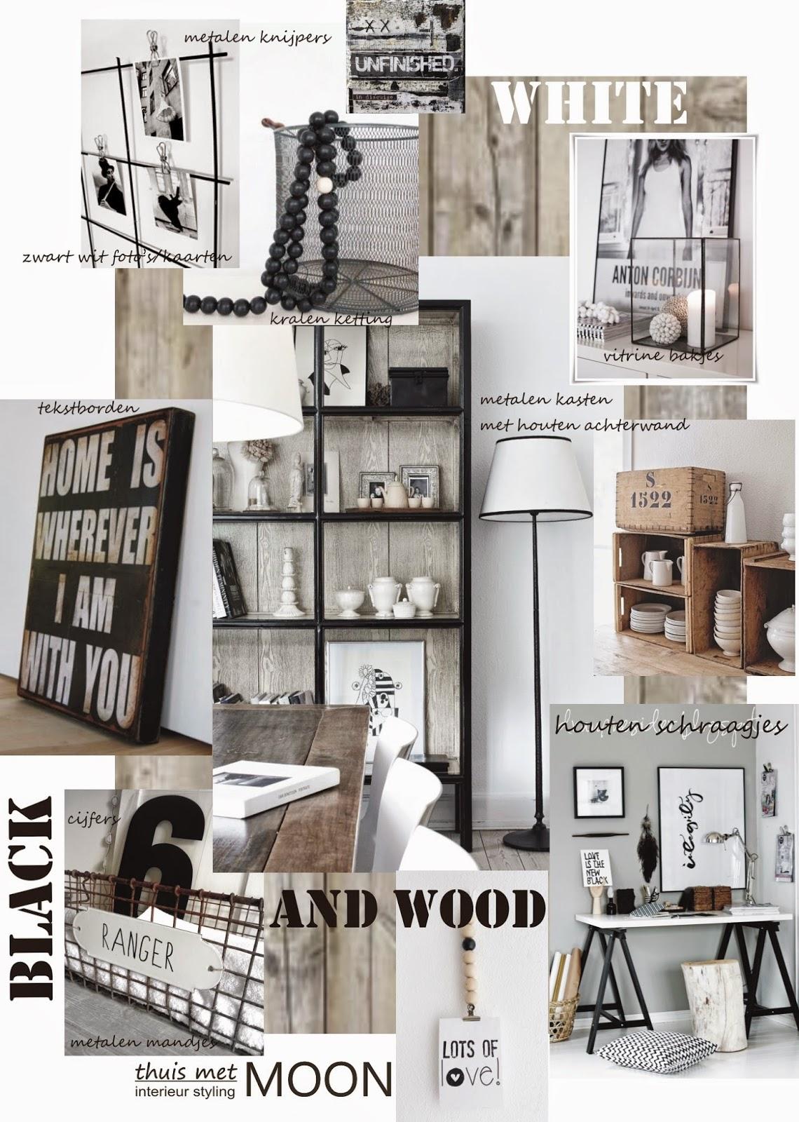 Thuis met moon zwart wit met hout voor een warm interieur - Zink oude keramiek ...