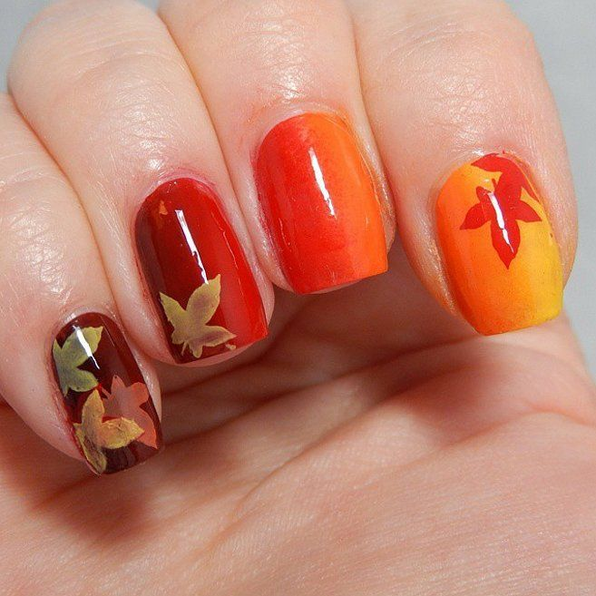 Trending thanksgiving nail art ideas for 2017 gradient effect on all the nails showing the changing colors of leaves during fall season can be your inspiration for thanksgiving nail art prinsesfo Image collections