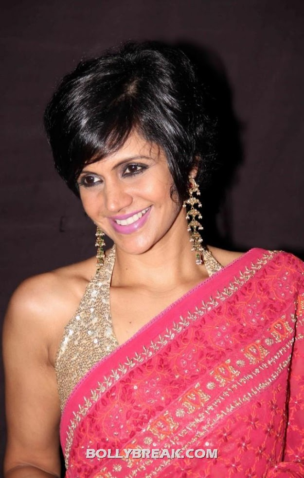 Mandira Bedi in Red Saree - Mandira Bedi Latest Pics in Red Saree - 2012