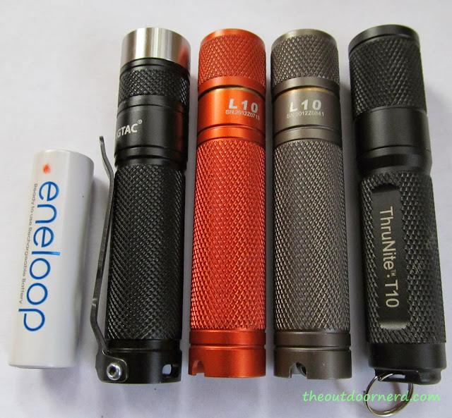 From Left: Sanyo Eneloop AA, Eagletac D25A Mini, L3 Illuminations L10 (XP-G2), L10 with Nichia 219, Thrunite T10
