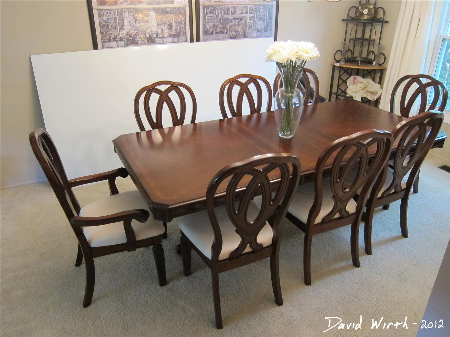 Dining Room Table And Chairs Set, Recovered Chairs Fabric, Wood Table, Sturdy  Chairs