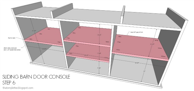 diy console shelves