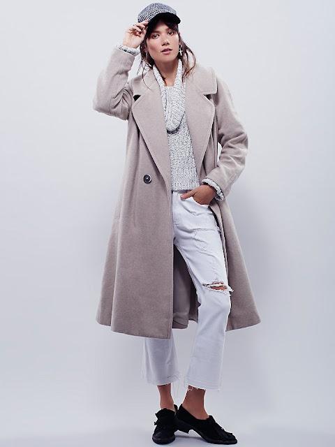 free people grey coat, free people wool coat, grey maxi wool coat,