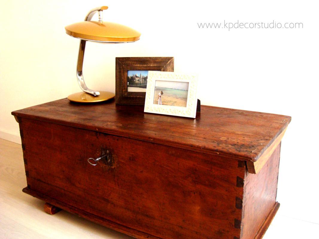 Kp tienda vintage online ba l de madera antiguo para mesa - Como decorar un baul de madera ...