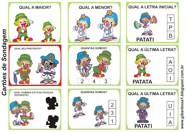 Cartões de Sondagem Patati Patatá