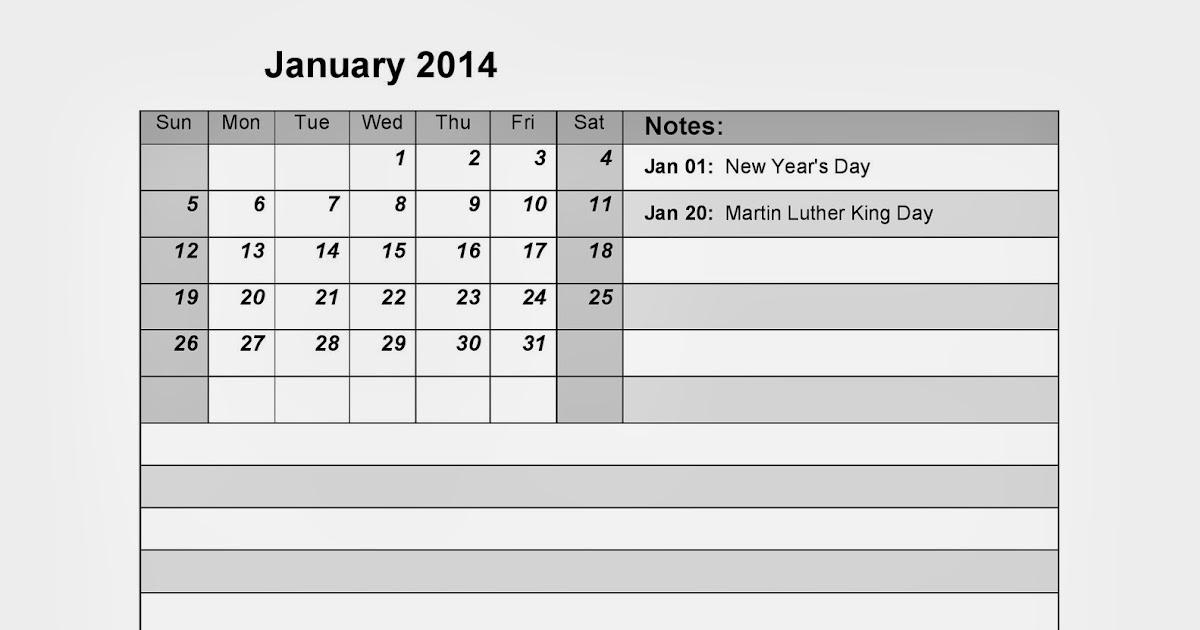 January 2014 Calendar Printalbe #11 - Printable Calendar ...