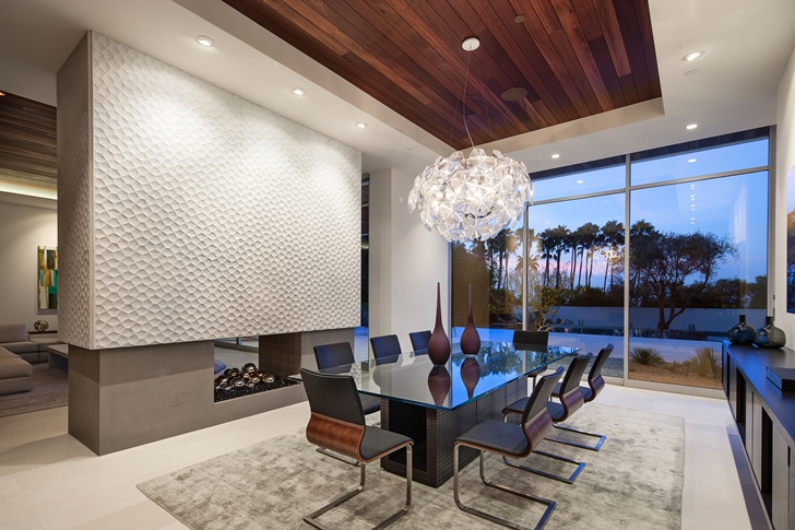 Dining room in Sunset Plaza Drive modern mansion in Los Angeles