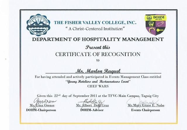 The fisher valley college september 2011 certificate of recognition on young hoteliers and restaurateurs event chef wars yelopaper Image collections
