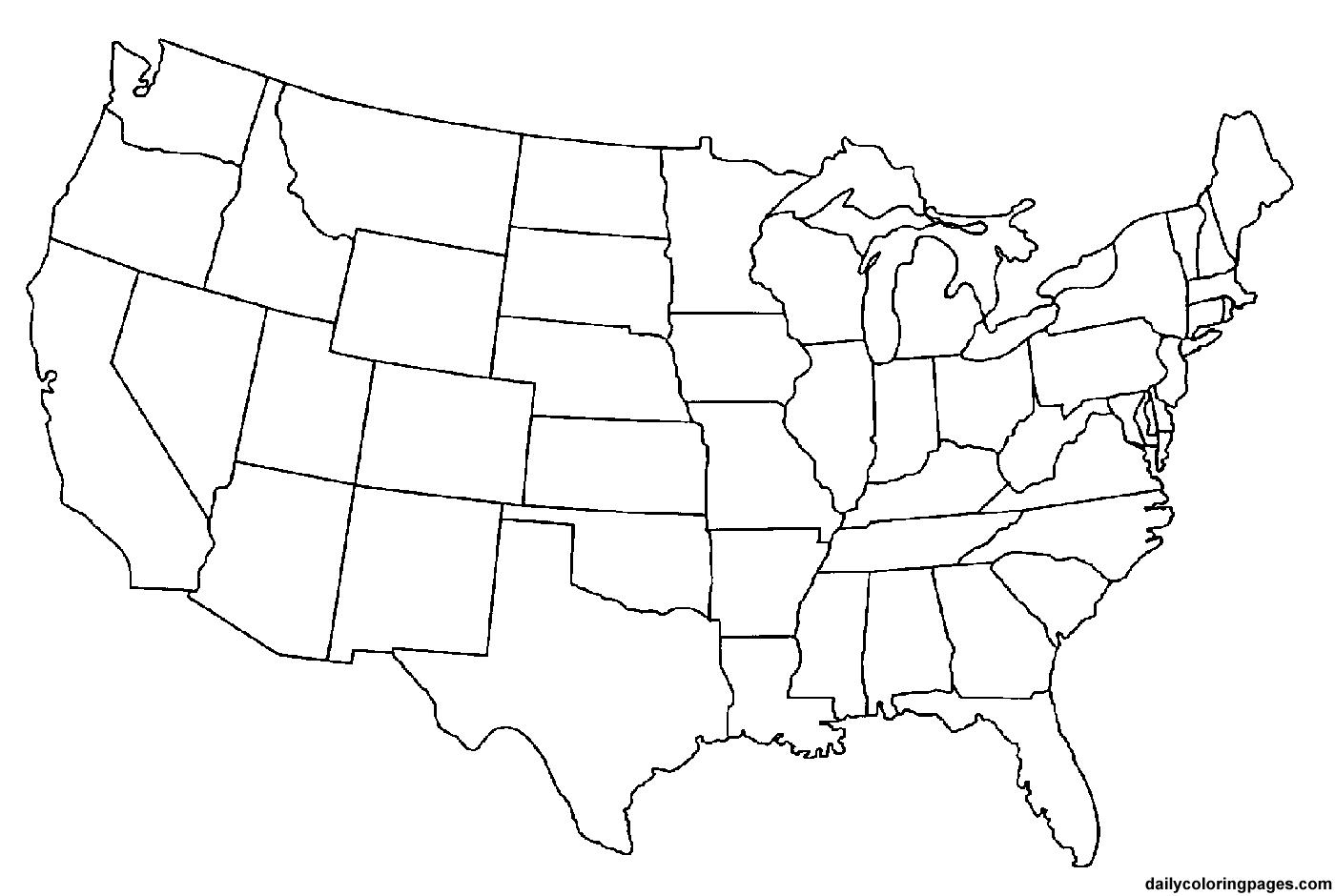 Mapa de Estados Unidos para imprimir y colorear