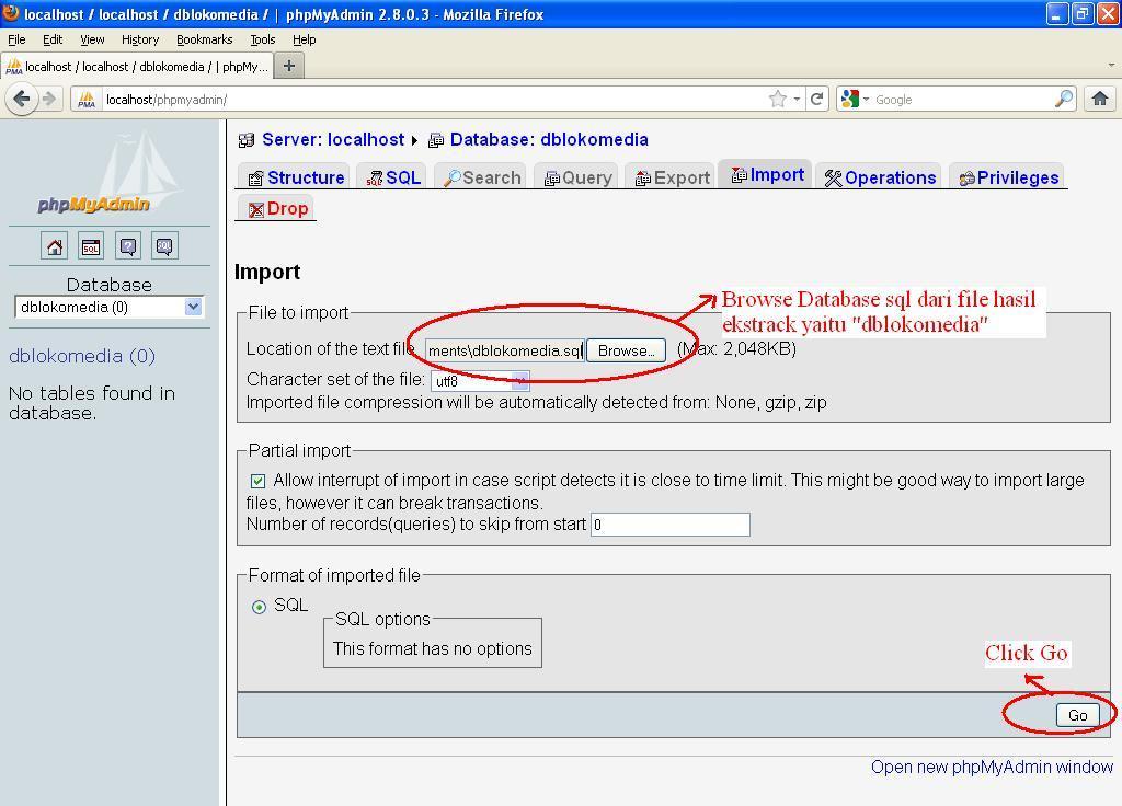 NB : Pemberian nama database tidak harus sama dengan diatas.