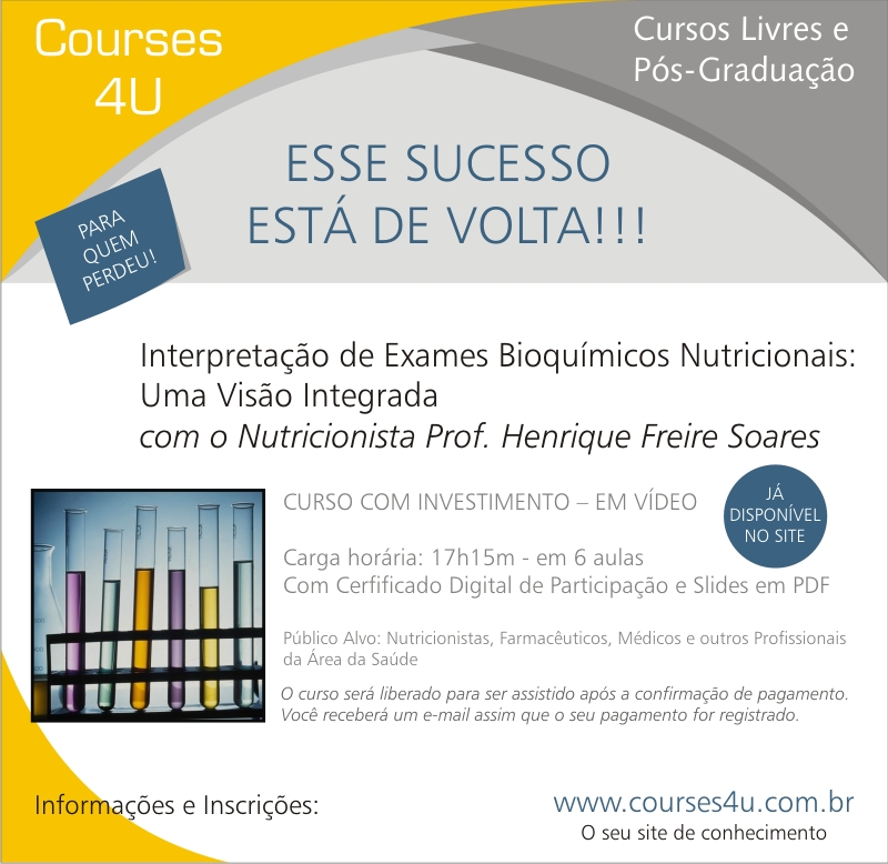 CURSO DE EXAMES BIOQUÍMICOS NUTRICIONAIS ON LINE