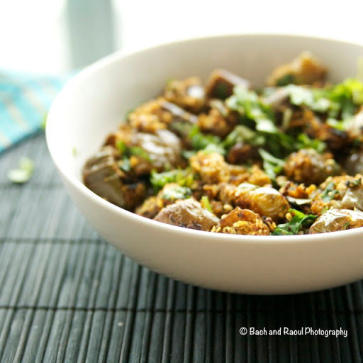 Bharli Vangi - Vegan Indian Eggplant Cooked with nuts and spices