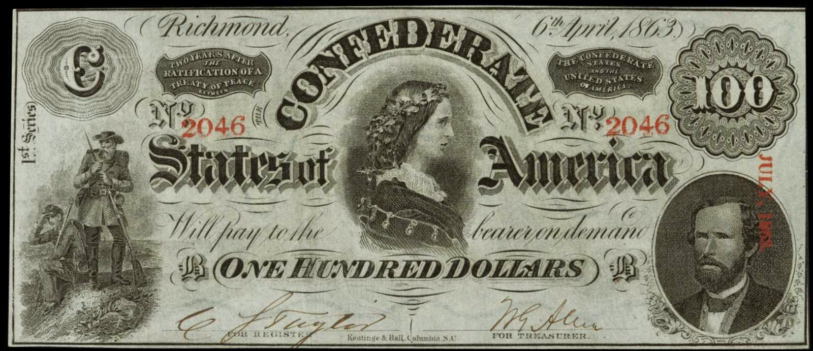 1863 100 Dollar Bill Lucy Pickens
