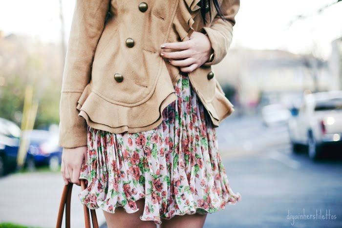 go jane floral sun dress, urban outfitters wool military ruffled peacoat, dolce vita suede rose pumps, bodhi leather audrey milano tote, austin fashion blog, diya liu, texas street style