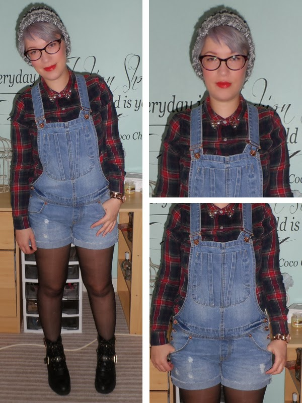 River Island Dungarees, New Look Checked Shirt, ASOS Ankle Boots