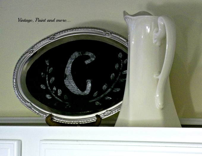 Vintage, Paint and more... chalkboard painted dollar tree tray, thrifted pitcher