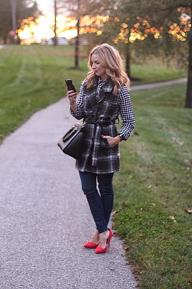 jcrew factory plaid shirt, JOA plaid vest, jcrew jeans, madewell heels, michael kors handbag, graphic image iphone 5case