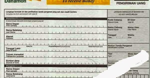 Contoh Surat Niaga Mengambil Uang Western Union Bank Danamon Formulir