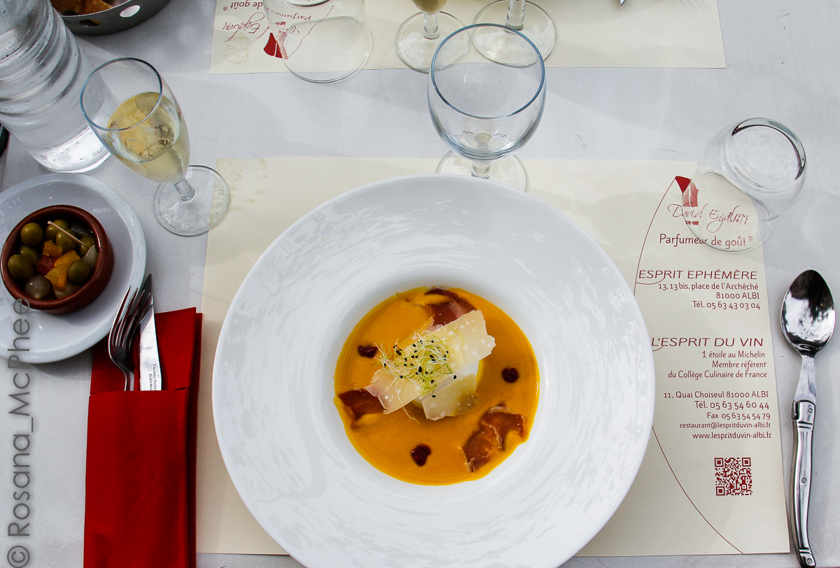 stylist and luxury sir la table. A three course menu  very tasty and creamy butternut squash soup topped with jambon Parmesan shavings a soft egg as all good French table France stylish break in Albi Hot Chilli