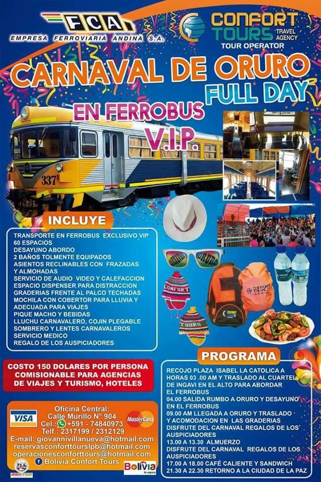 Toma el tren al CaRnaval de Oruro 2017 con Confort Tours