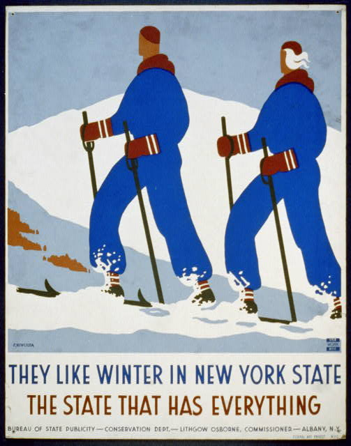 america, travel, travel posters, sports, united states, new york, skiing, retro prints, vintage, vintage posters, free download, They Like Winter in New York State - Vintage Travel Ski Poster - The State That Has Everything