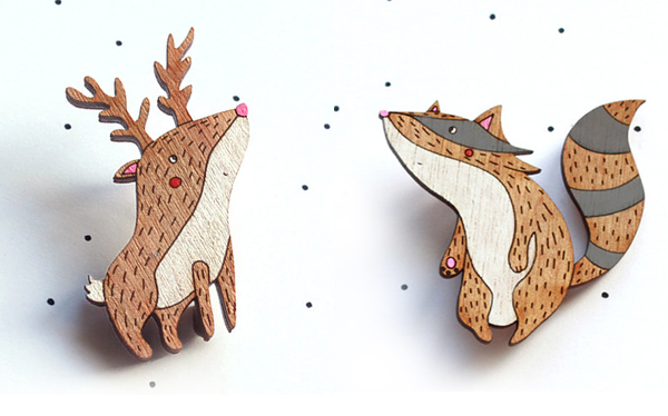 Cute wooden animal brooches from So Little Time Co.