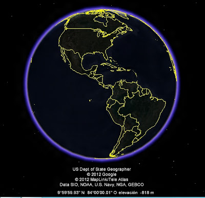 El Mundo, google earth, vista nocturna, America