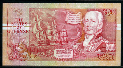 British banknotes Guernsey &#163;20 pounds money currency, Admiral  Lord de Saumarez