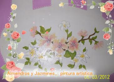 """Linea """"jazmines y almendros"""" detalle de la pintura"""