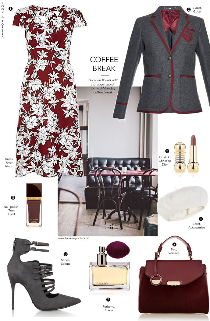 Styling a floral dress with preppy blazer, beret and pumps for work and drinks after. / River Island, Gucci, Accessorize, Schutz, DKNY, Prada, Tom Ford, Christian Dior / style tips / outfit inspiration / ootd / daily outfit ideas via look-a-porter.com style & fashion blog