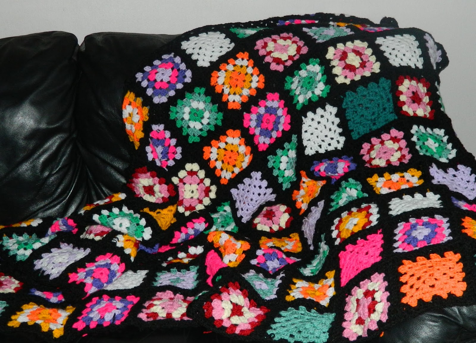 colour burst afghan throw, granny squares