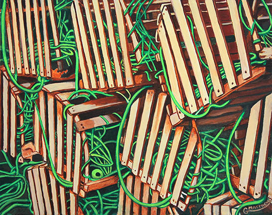 Lobster Pots with Rope - Oil Painting