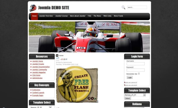 Free Cars Racing Black Joomla Theme Template