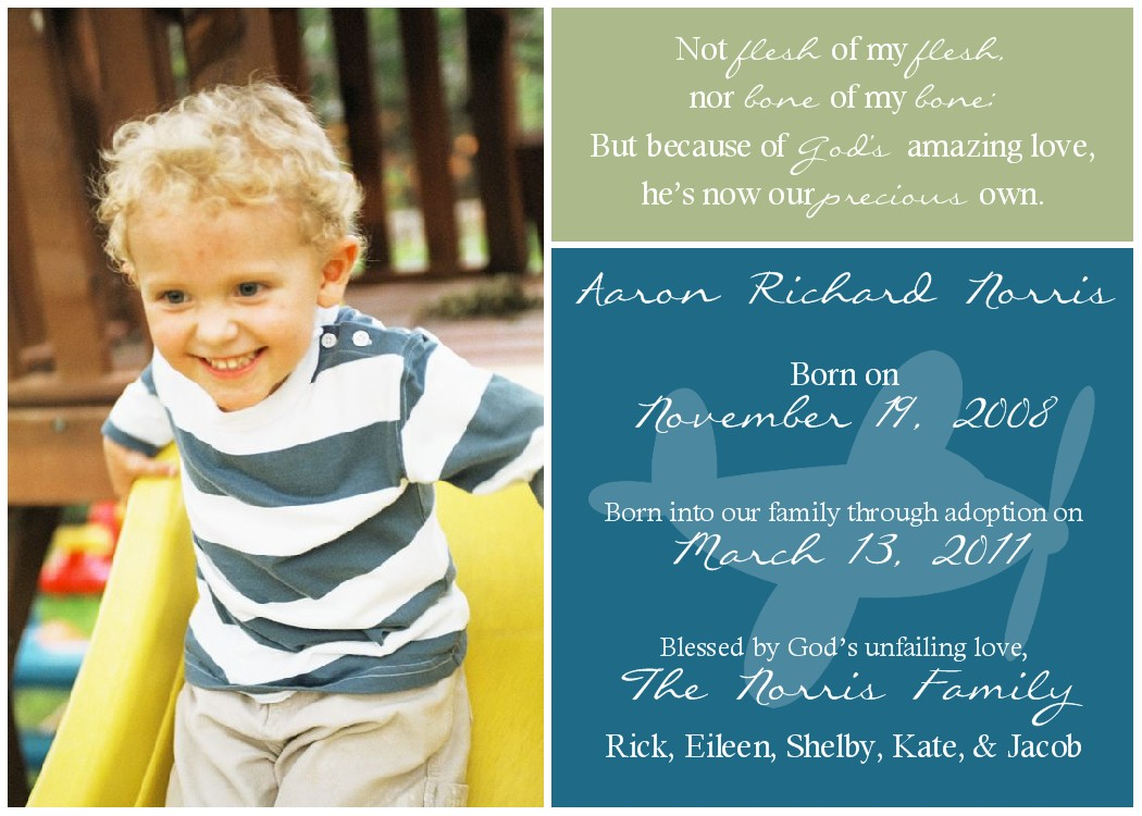 Adoption Announcements Adoption Information From | Party Invitations Ideas