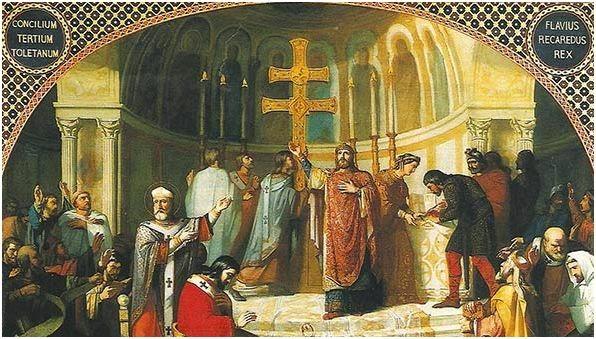 Recaredo en Concilio de Toledo