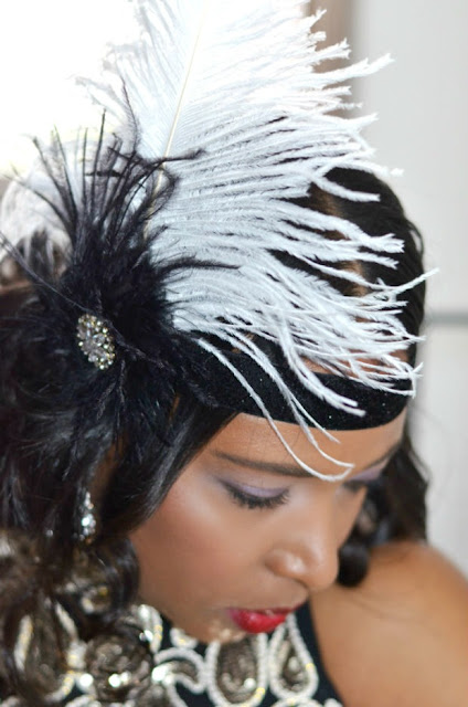 DIY-Great-Gatsby-Roaring 20s-Flapper-Feather-Headband-Hairclip-Before+After