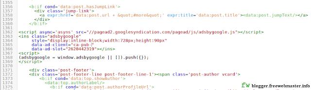Как установить код рекламного блока AdSense в шаблон Blogger в конце каждого сообщения?