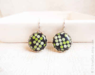 moss green, lime green, jewelry, earrings, small earrings, dangle earrings