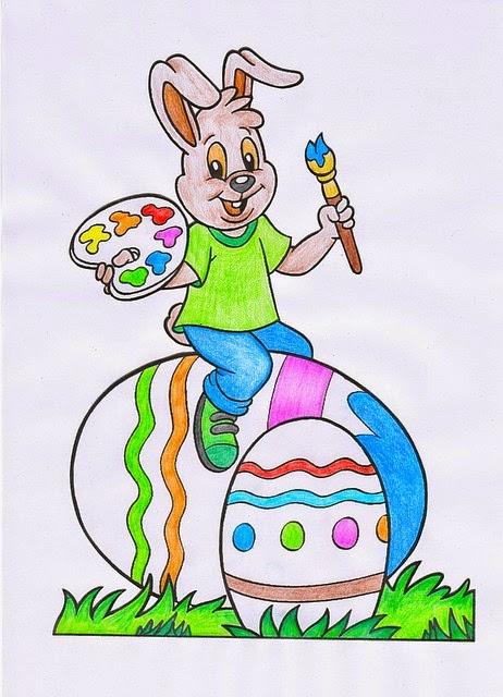 disegno colorato con coniglio e uova di pasqua