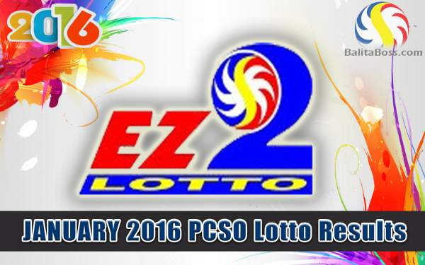 Image: January 2016 PCSO EZ2 Lotto