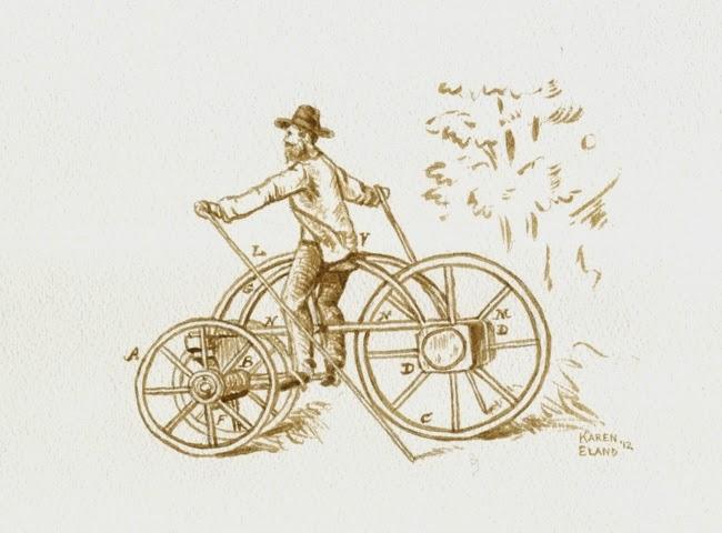 12-Early-Bike-Karen Eland-Vintage-Looking-Beer-and-Water-Paintings-www-designstack-co