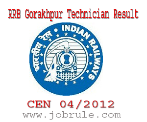 RRB Gorakhpur (GKP) CEN 04/2012 (Technician Categories) Examination Result and Document Verification Time Schedule