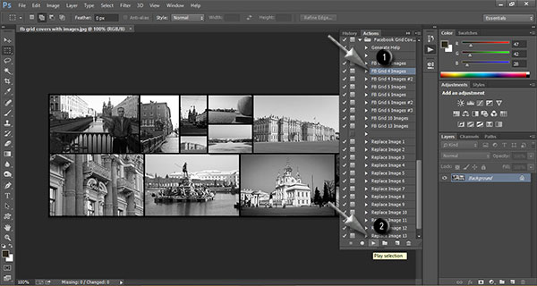 DesignEasy: Free Photoshop Actions: Facebook Grid Covers